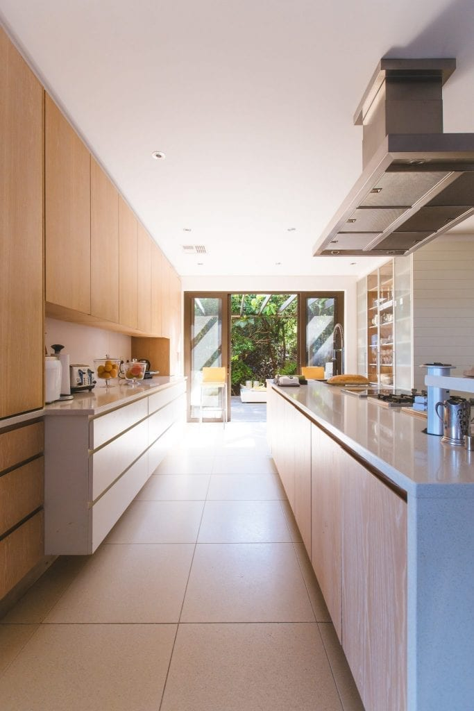 A modern style kitchen in a custom built home